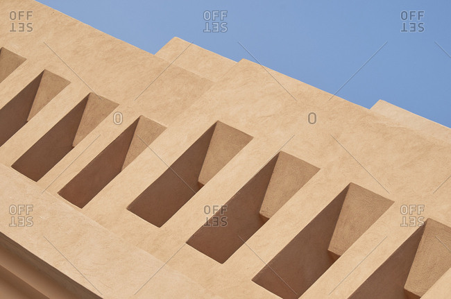 Detail of geometrical shaped building in Marrakesh, Morocco, Africa