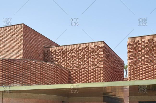 Unique brick building in Marrakesh, Morocco, Africa