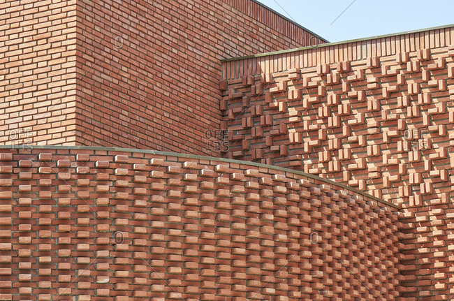 Detail of unique brick building in Marrakesh, Morocco, Africa