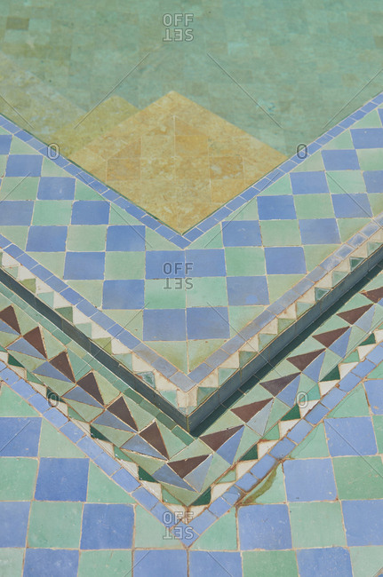 Overhead view of tile work on ground, Marrakesh, Morocco, Africa