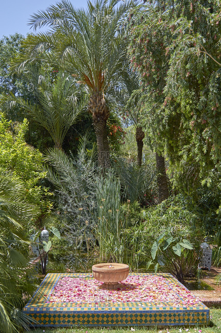 Fountain in garden in Marrakesh, Morocco, Africa