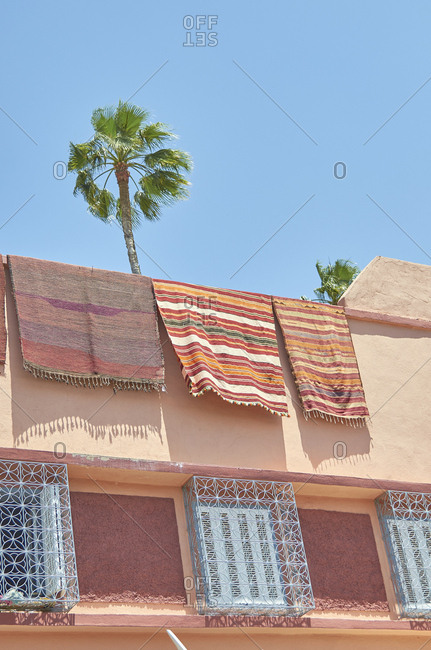 Palm trees over home in Marrakesh, Morocco, Africa with tapestries on roof