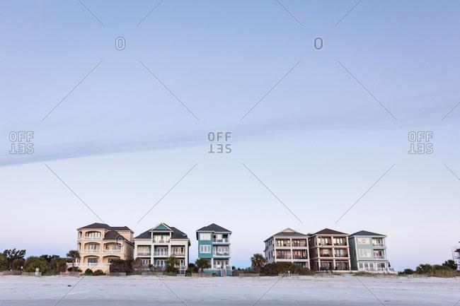 Idyllic Beach Houses in a row on the North Carolina Coast