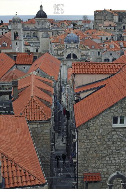 View above the rooftops of old town Dubrovnik, Croatia during winter.