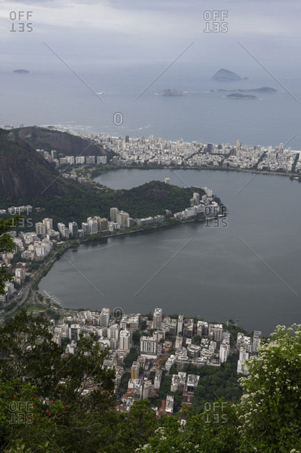 View from Christ the Redeemer mountain to the city, lagoon and ocean