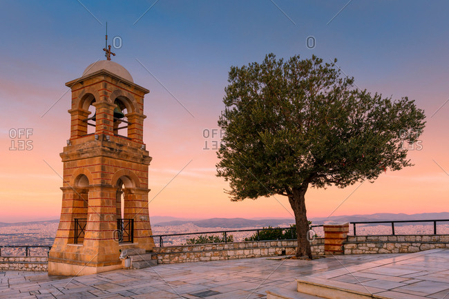 Bell tower on Lycabettus hill in Athens, Greece.