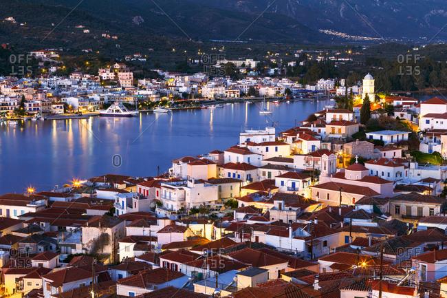 Poros, Greece - January 19, 2018: View of Poros island and Galatas village in Peloponnese, Greece.
