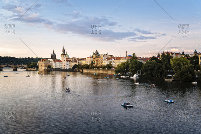 Czech Republic, Prague - August 19, 2017: Vltava river against sky in city during sunset