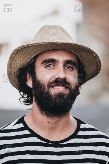 Bearded male on deserted road