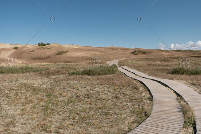 Wooden pathway among dry rural empty field on sunny summer day