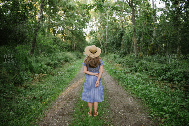 Back view of carefree adult woman in straw hat and sundress standing along forest road between pines at sunny day