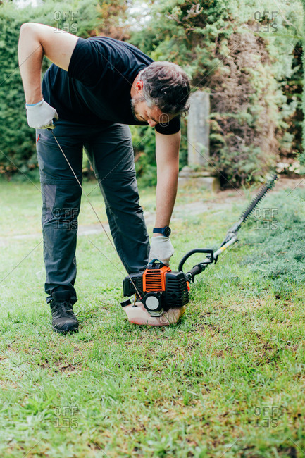 Caucasian man switching on and trimming an arizonica hedge with mechanical tools