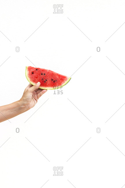 Hand of anonymous person holding piece of juicy sweet watermelon against white background