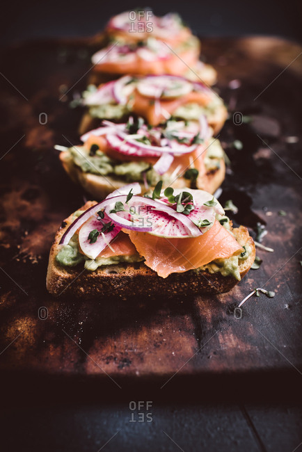 Close up of avocado salmon toast