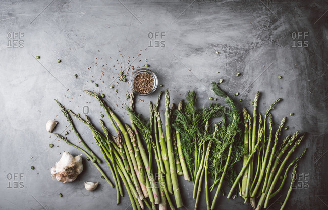 Pickled asparagus ingredients on gray background