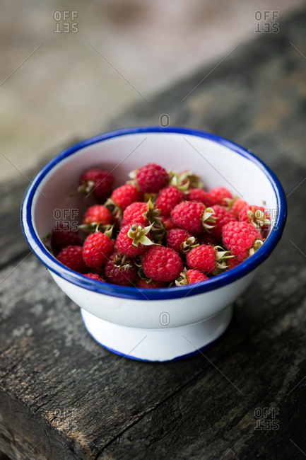 Close up of raspberries in a bowl