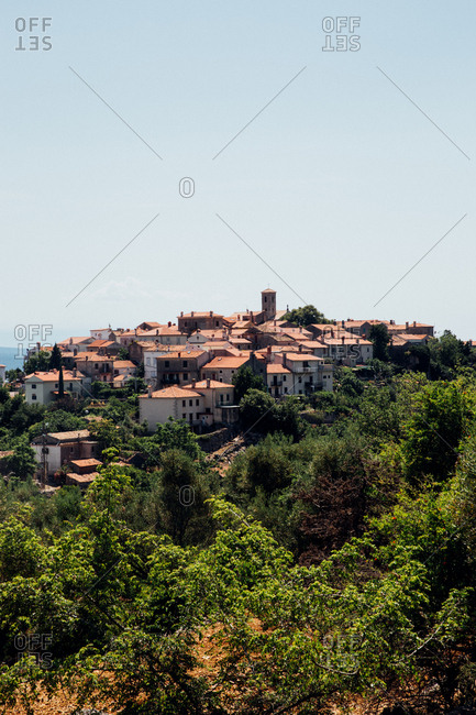 Elevated view of Croatian hilltop village