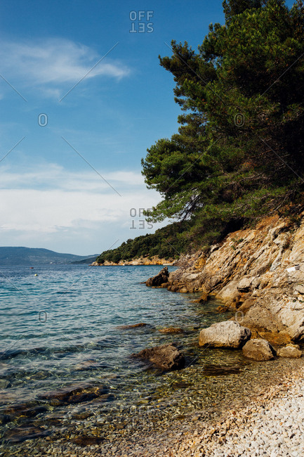 View of rocky beach and Adriatic Sea in Croatia