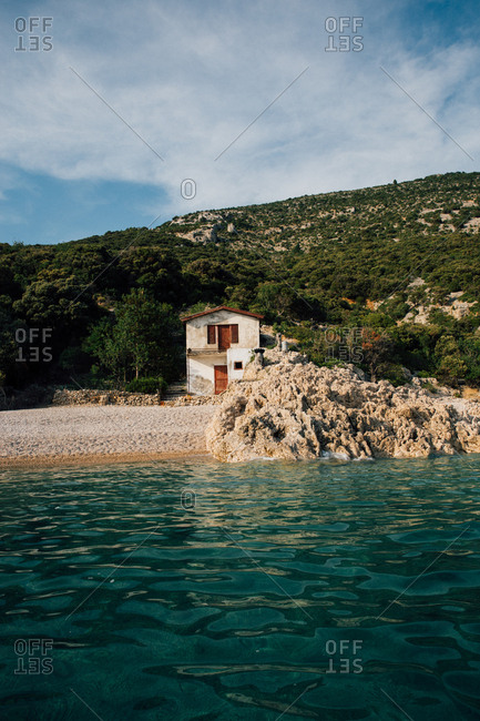 House on beach on the coast of the Adriatic Sea in Croatia