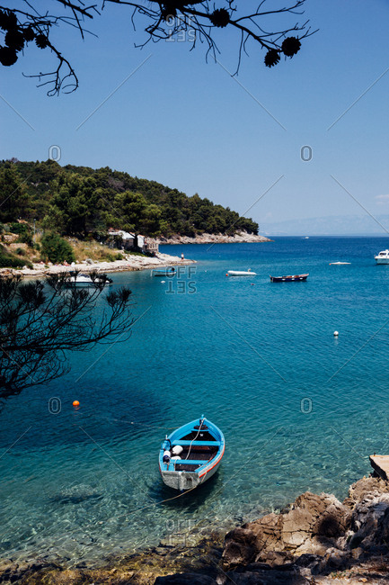 Boats moored in the Adriatic Sea on the Croatian coast