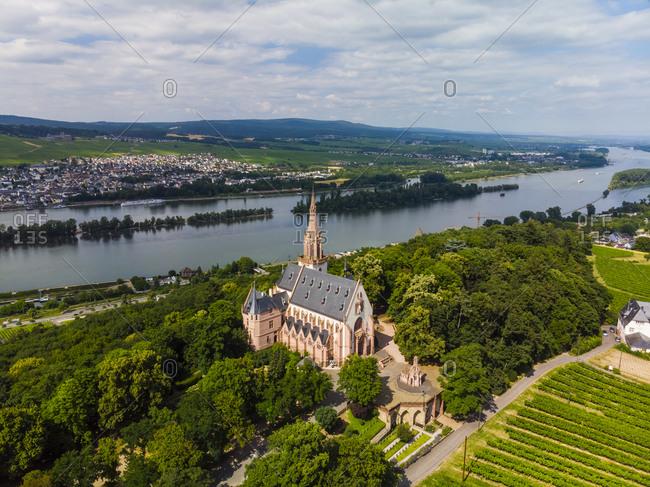 Germany- Rhineland-Palatinate- Bingen region- Rochus Mountain and Rochus Chapel- Aerial view of Kempen am Rhein and Ruedesheim am Rhein