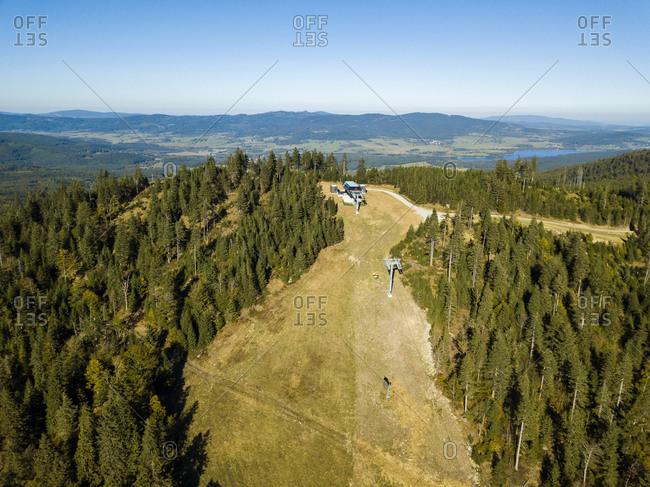Aerial view over Hochficht ski area in autumn- Bavaria- Germany
