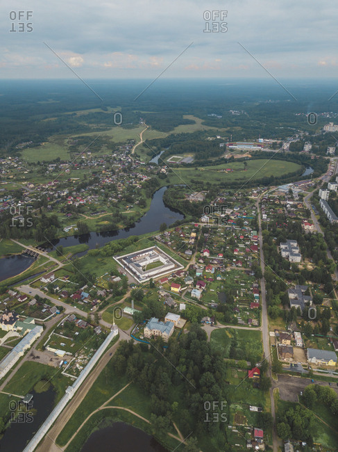 Aerial view of the town Tikhvin- Russia