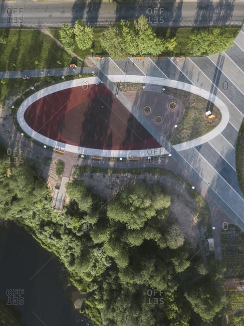 Aerial view of public square- Tikhvin- Russia