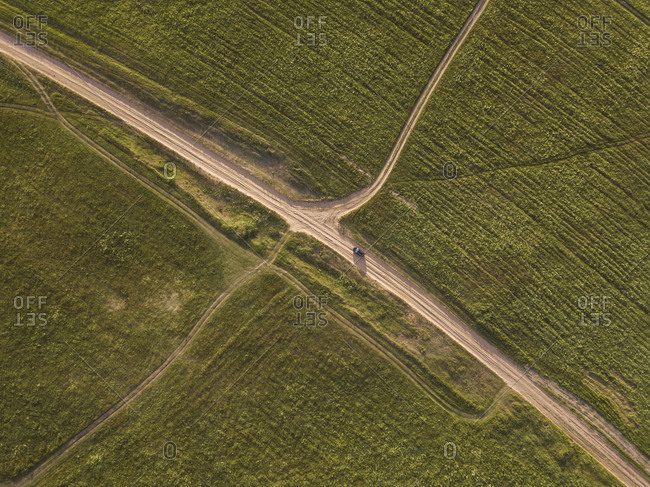 Aerial view of car at a dirt track- Tikhvin- Russia