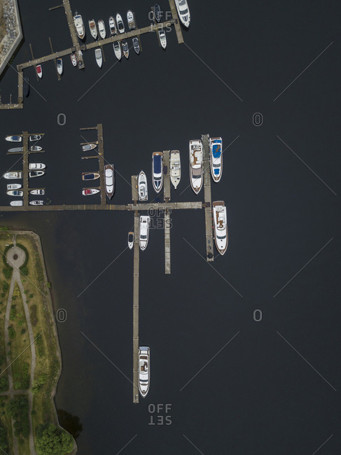 Pier and Boats at Krestovsky Island- St Petersburg- Russia