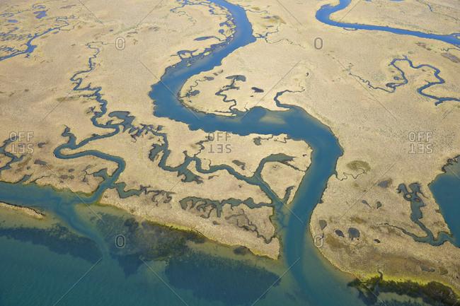 Spain- Andalusia- Punta Umbria- Marismas del Odiel- aerial view