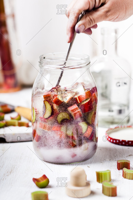 Making of Rhubarb Gin
