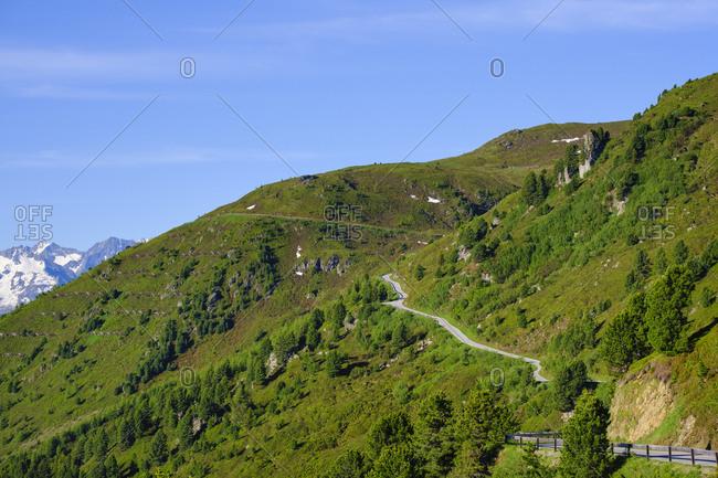 View over Zillertaler mountain road- Tux Alps- Ziller valley- Tyrol- Austria