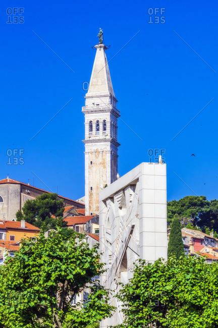 June 16, 2019: View to church of St. Euphemia- seaport Rovinj- Istria- Croatia