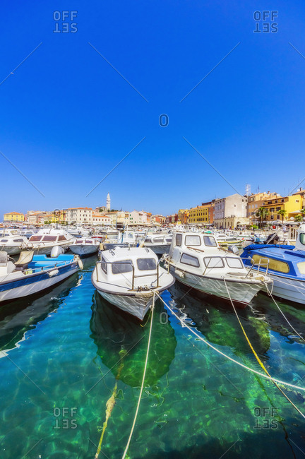 June 16, 2019: Harbour with boats at Rovinj- Istria- Croatia