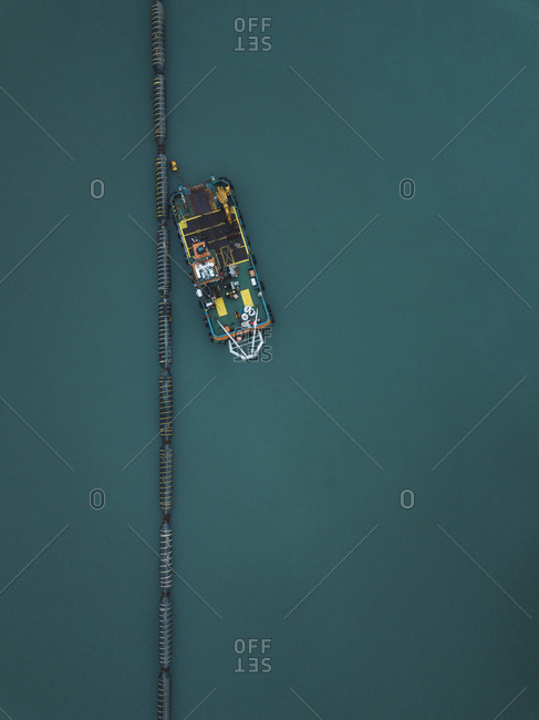 Aerial view of ship for petroleum production