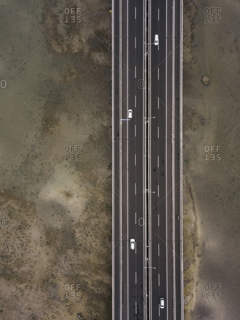Aerial view of bridge in the sea