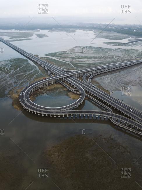 Aerial view of bridge in the sea