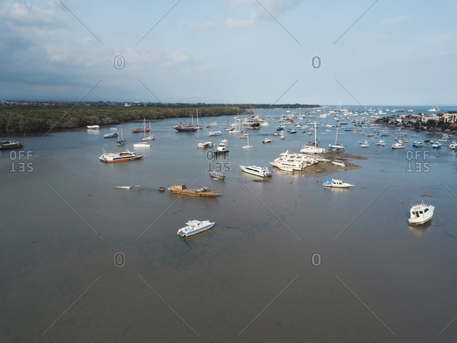 Aerial view of boats at harbor