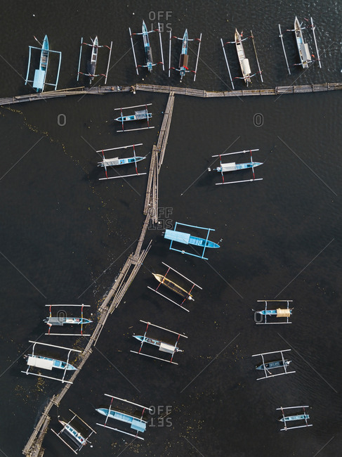Aerial view of boats near pier