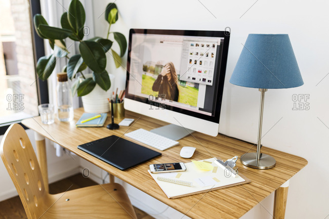 Modern woman's office at home