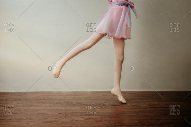 Portrait of a ballerina practicing her dance