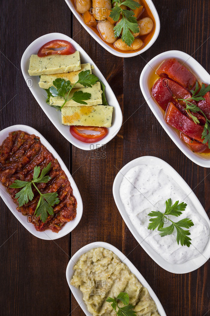 Traditional Turkish mezes on the wooden surface