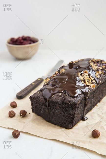 Chocolate cake with hazelnut and cherries