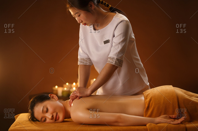 The young woman in indoor SPA