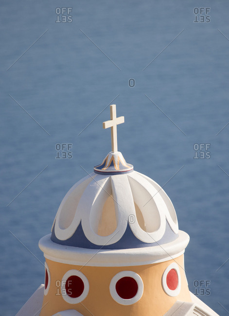 Top of church Saint Stylianos, Santorini Island, Cyclades, Greece