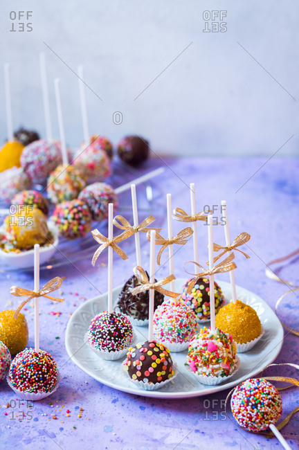 Colorful birthday cake pops with sprinkles