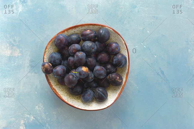 Overhead view of freshly picked plums in plate
