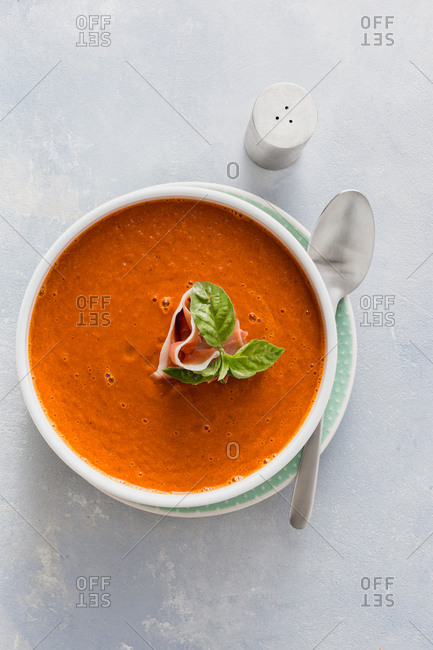 Bowl of creamy roasted tomato soup top view