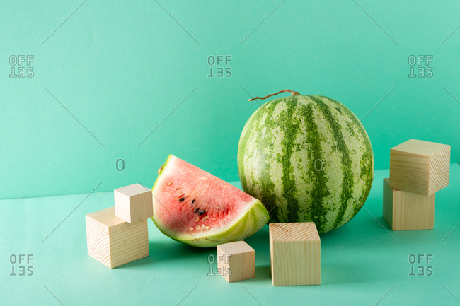 Whole Watermelon and slice, still life